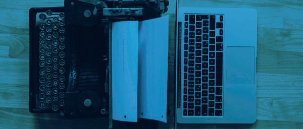 typewriter and laptop