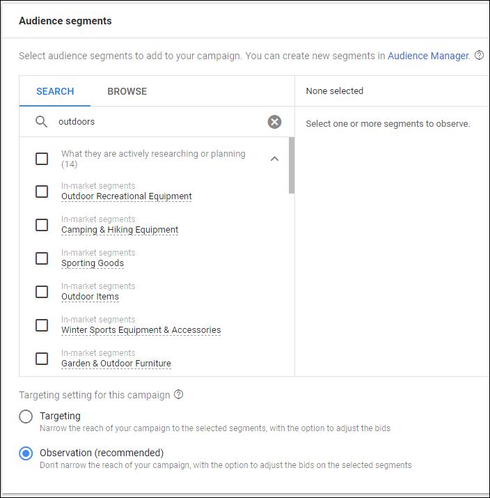 google ads audience setup