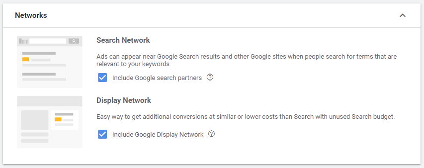 google ads search networks selection